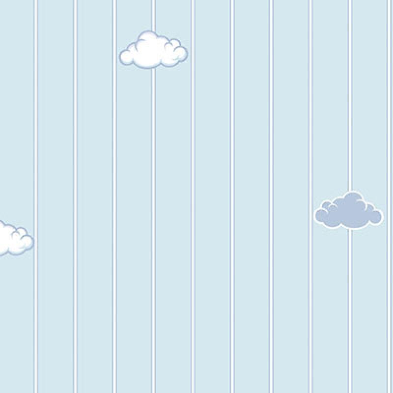 çizgili mavi bulutlu ada kids duvar kağıdı